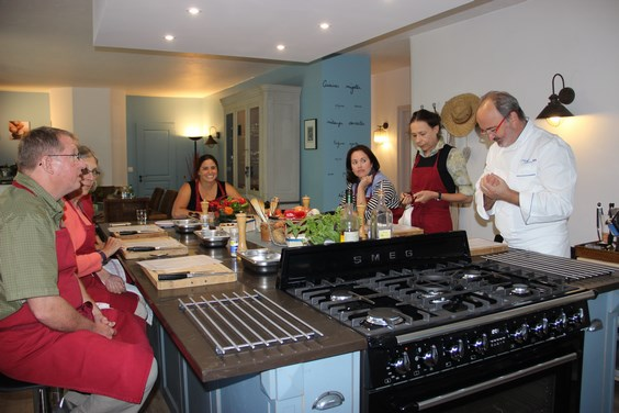 Our teaching kitchen in our French cooking school near Avignon in Provence